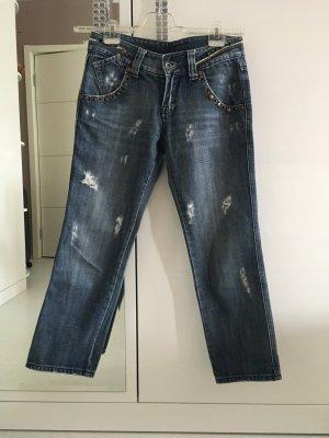 Jeans a 7/8 blu acciaio