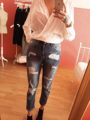 Boyfriend jeans high waist blau mit rissen cutouts löcher