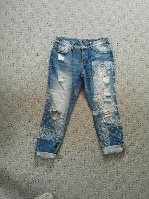 Boyfriend Jeans mit Muster used Look