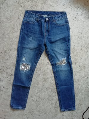 Boyfriend Jeans silver-colored-blue