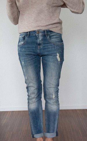 Manila Grace Boyfriend jeans blauw-staalblauw