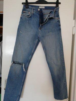 Zara Woman Boyfriend Jeans steel blue cotton