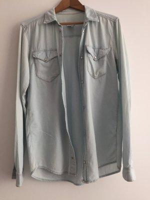 H&M Camisa vaquera azul celeste-azul pálido