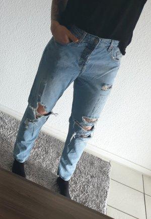 Pantalone boyfriend blu fiordaliso