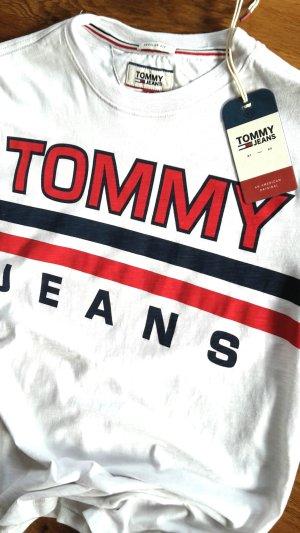 Boyfriend Statement T Shirt weiß rot blau Gr S von Tommy Jeans