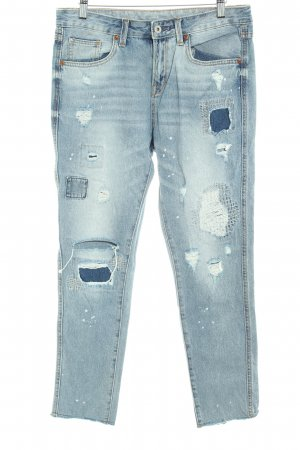 Boyfriend Jeans slate-gray spots-of-color pattern distressed style