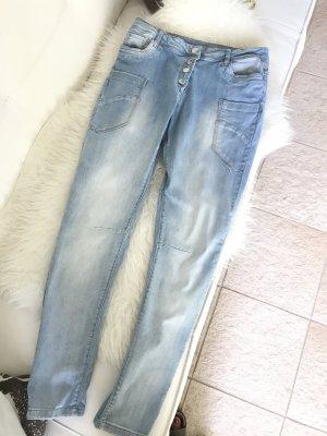 Friendtex Jeans boyfriend bleu azur coton