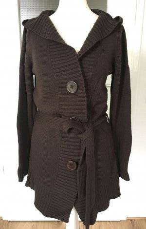 BoyseN's Strickmantel Braun XS 32 34 Strickjacke Maxi Cardigan Oversize Mantel Pulli Kapuze