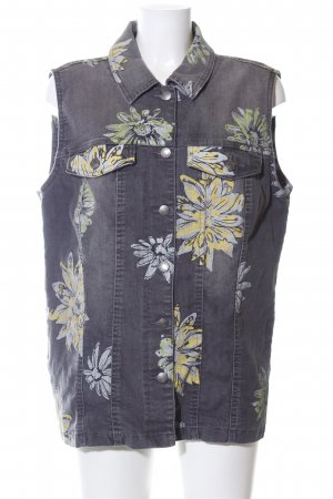 bpc selection Jeansweste hellgrau Blumenmuster Casual-Look