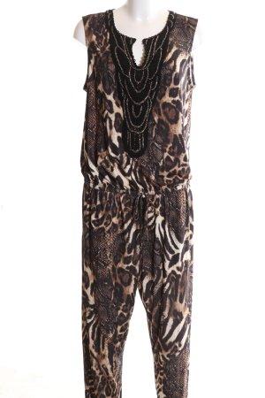 BPC Selection Premium Jumpsuit bronzefarben-wollweiß Allover-Druck Casual-Look