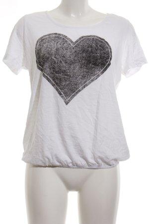 bpc T-Shirt weiß-schwarz grafisches Muster Casual-Look