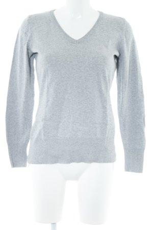 bpc V-Ausschnitt-Pullover hellgrau meliert Casual-Look