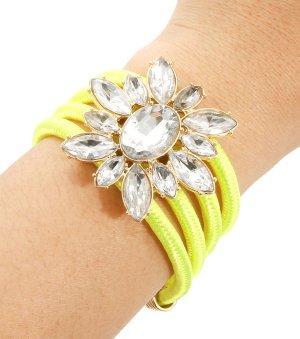 Bracelet Armband Gold Stoff Röhren Neon Gelb Anhänger Ornament Glas Kristall klar