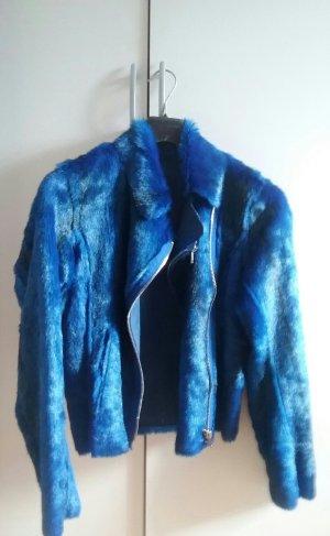 Miss Sixty Fake Fur Jacket blue-neon blue fake fur