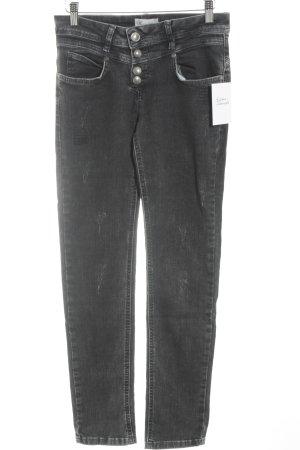 Brandalism Slim Jeans schwarz-anthrazit Biker-Look