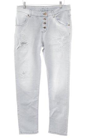 Brandalism Straight-Leg Jeans hellgrau Farbtupfermuster Used-Optik