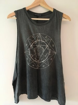 Brandy & Melville Top cut-out argento-bianco