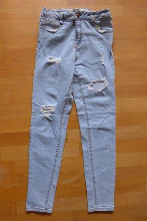 Brandy Melville Skinny Jeans destroyed used hellblau Gr. XS 40 34