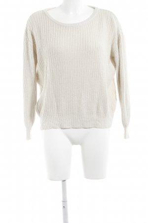 Brandy & Melville Strickpullover wollweiß Zopfmuster Casual-Look