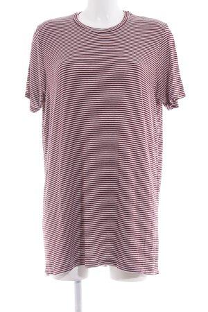 Brandy & Melville T-Shirt bordeauxrot-weiß Streifenmuster