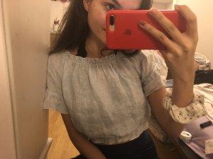 Brandy & Melville Cropped shirt wit-lichtblauw