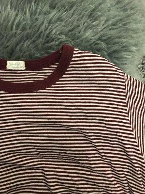 Brandy & Melville Cropped Shirt bordeaux-white
