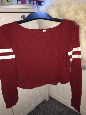 H&M Cropped shirt donkerrood-wit