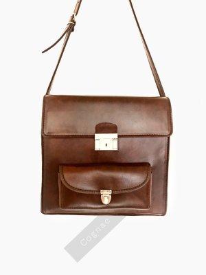 a8fc75790a677 Braun Cognac dunkel Rox Lederwaren Henkel Verschluss zwei außen Taschen