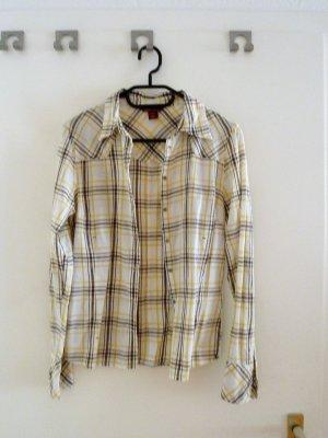 Braun-gelb-weiß karriertes Hemd