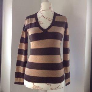 braun gestreifter Pullover / V-Ausschnitt von Tommy Hilfiger in Größe M