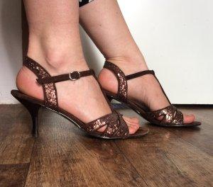 Braun-glitzernde Sandaletten