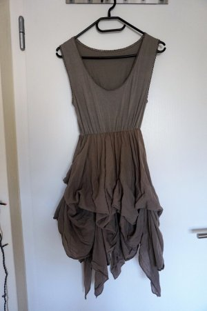 braun,grau Rüschen/Fransen Kleid
