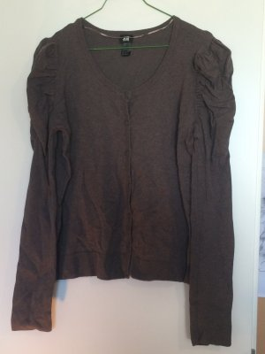 Braun-graue Sweatjacke mit Puffärmelchen von H&M