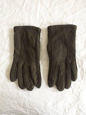 Braun-grüne Leder Handschuhe von Esprit