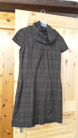 Braun kariertes kurzärmeliges Kleid mit Kragen Größe 38 von Esprit