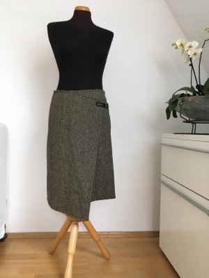 Promod Wraparound Skirt dark brown-natural white