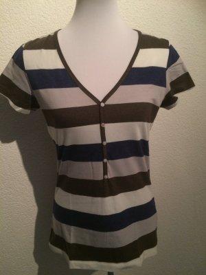 braun weiß blau gestreiftes Shirt von Esprit - Gr. XL