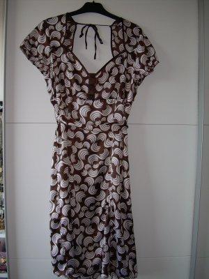 braun-weiß gemustertes Satin-Kleid von Xanaka Gr. 40