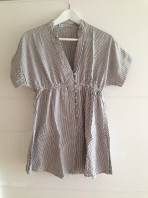 Braun weiß gestreifte Bluse mit kurzem Arm