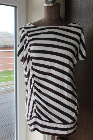 braun weiß gestreiftes Longshirt / T-Shirt von Liberty Größe L