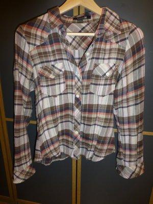 Braun-weiß-lachsfarben, kariertes Hemd