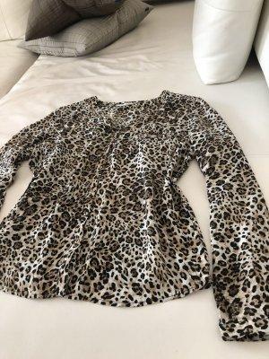Braune Animal Print Bluse Shirt