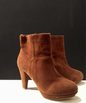 Braune Ankle Boots Cognac Velours Leder Plateau Absatz Stiefellette