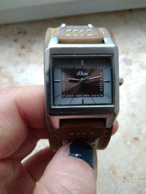 Braune Armbanduhr von s.Oliver echtes Leder