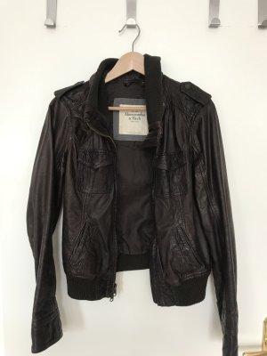 Braune Bikerjacke aus Leder von Abercrombie & Fitch