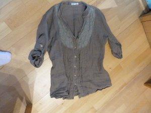 braune Bluse aus Leinen Spitzeneisatz Gr. M / L