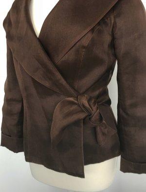 braune Bluse aus Seidenorganza seitlich zum Binden