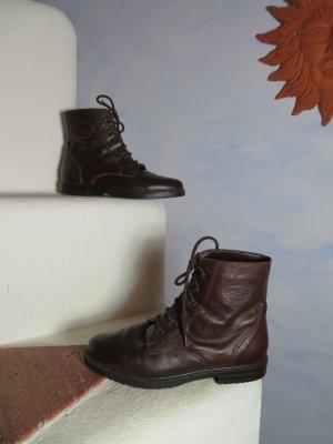 Braune Boots Stiefefette Haken Ösen Schnürer Stiefel Schuhe 39 40 Blogger Trend Vintage