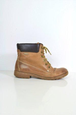 Braune Boots / Stiefel mit Schnürung und gelben Schnürsenkeln