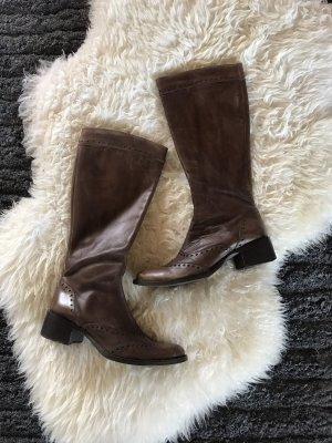 Braune Echt Leder Stiefel